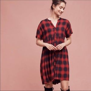 Anthropologie Red Plaid Tunic Dress Size Small